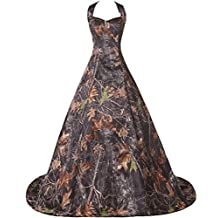 DINGZAN Halter Neck Camo Long Military Prom Dance Dress for Mother of the Bride