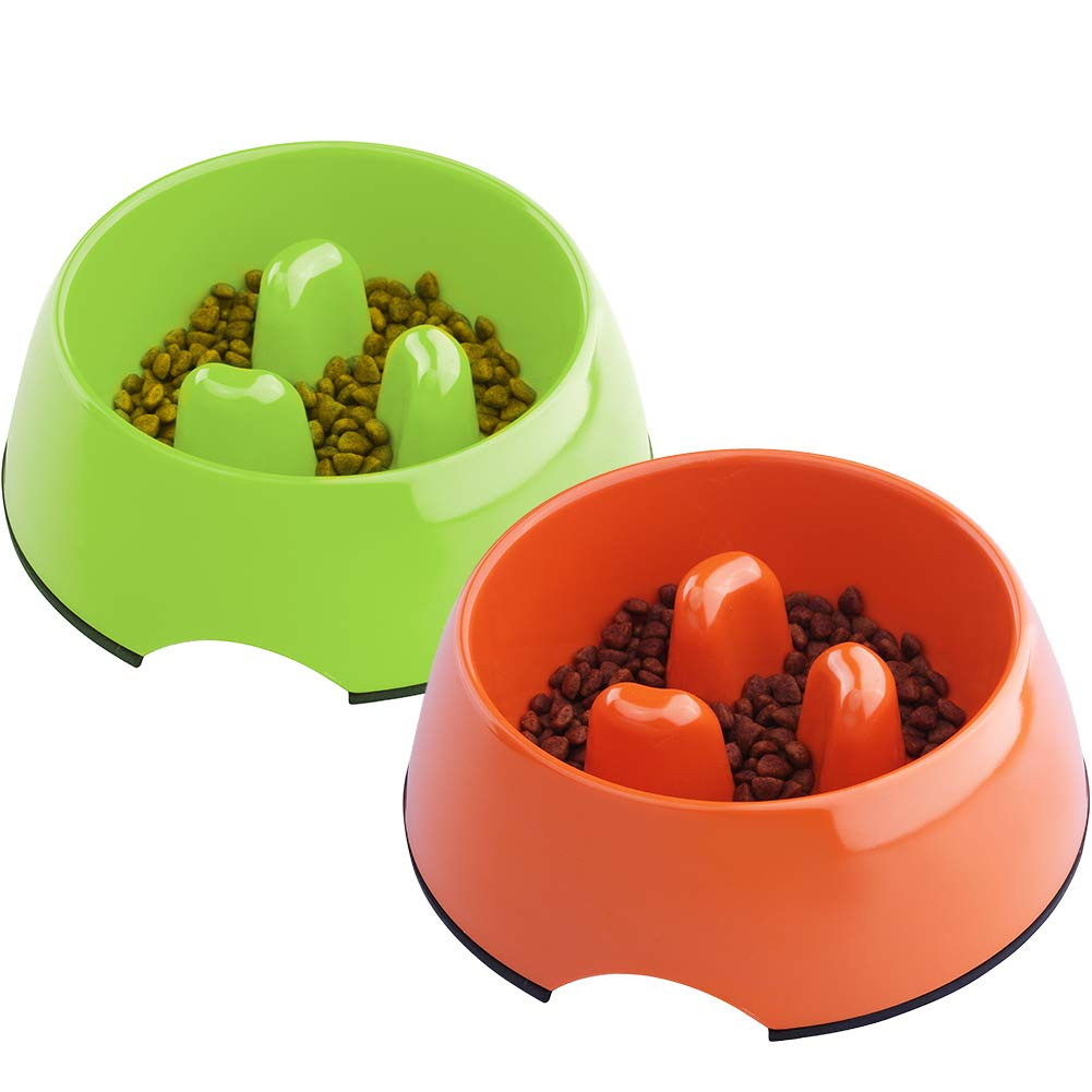 Super Design Anti-Gulping Dog Bowl Slow Feeder, Interactive Bloat Stop Pet Bowl for Fast Eaters 1.5 Cup Orange Green Set by Super Design