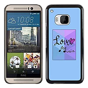 TopCaseStore / la caja del caucho duro de la cubierta de protección de la piel - Love Music Note Blue - HTC One M9