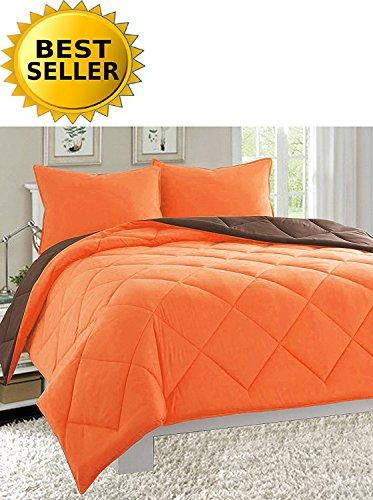 Celine Linen Luxury All Season Light Weight Down Alternative Reversible 3-Piece Comforter Set - HypoAllergenic, Diamond Stitched, Full/Queen, Orange/Chocolate (Orange Queen Comforter Set)