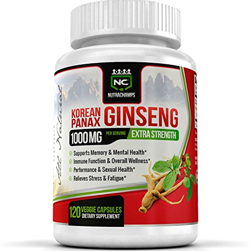 Golden Root Blend (NutraChamps Korean Red Panax Ginseng - 120 Vegan Capsules - 1000mg Servings Pure Extra Strength Root Extract w/ High Ginsenosides for Energy, Immune & Mental Health, Stress, Sexual & Overall)