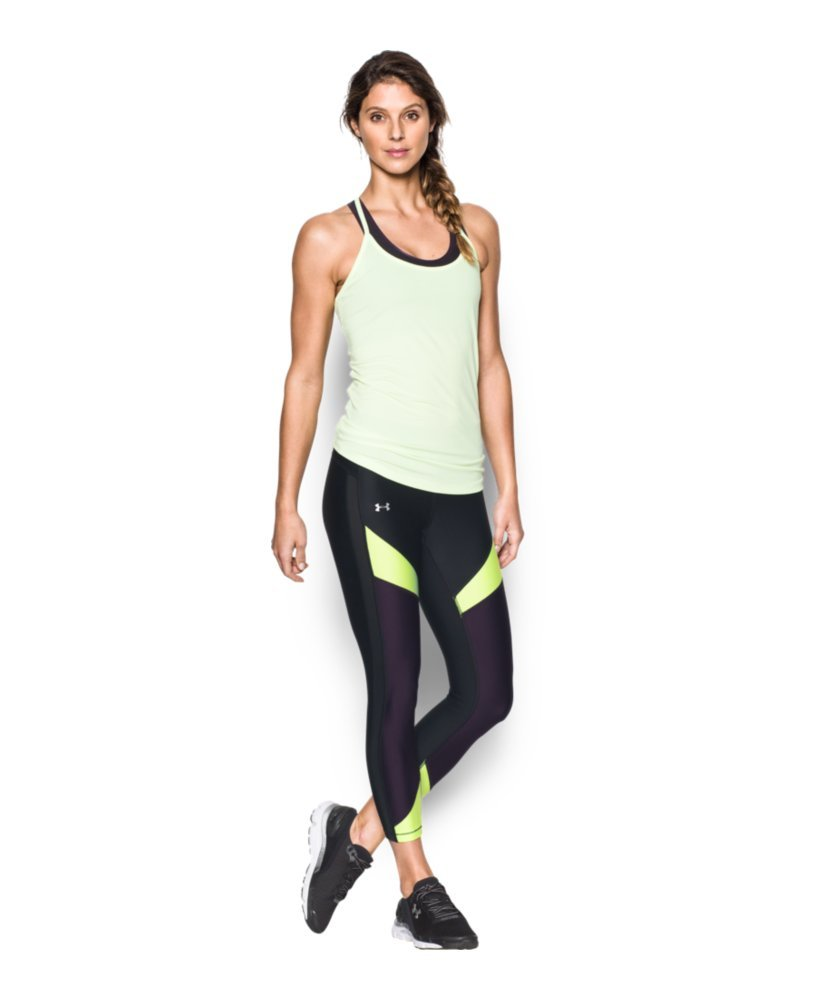 Under Armour Women's HeatGear Color Blocked Ankle Crop, Black /Metallic Silver, X-Small by Under Armour (Image #3)