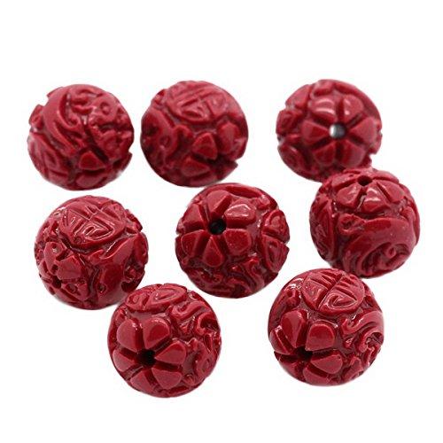 """Housweety Bijoux Accessoires - 10 Perles Corail synthetique Motif Fleur Dragon Rouge 11mm Dia.(3/8"""")"""