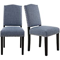 LSSBOUGHT Simple Modern Dining Chairs with Solid Wood Legs and Nailhead Detail, Set of 2 (Light Blue)