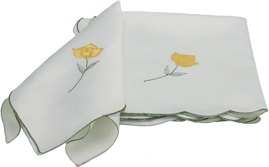 Xia Home Fashions Embroidered Napkin, 21 by 21-Inch, Yellow Rose, Set of 4