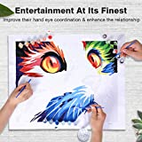 "COLORWORK DIY Paint by Numbers, Canvas Oil Painting Kit for Kids & Adults, 12"" W x 16"" L Drawing Paintwork with Paintbrushes, Full Moon 4 PCS Set"