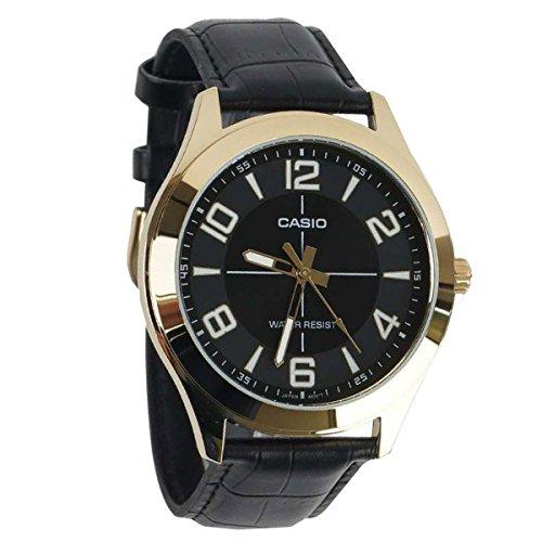 Case Gold Tone Band - Casio MTP-VX01GL-1B Men's Gold Tone Leather Band Big Case Black Dial Watch