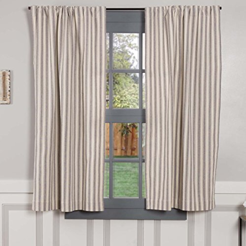 Piper Classics Market Place Gray Ticking Stripe Panel Curtains, Set of 2, 63