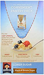 Quaker Instant Oatmeal Maple Brown Sugar, Lower Sugar, 10 ct, 1.19 oz