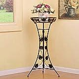 HZB Black European Iron Flower Shelf, Floor Type Indoor Living Room, Single Layer Green Flower Flower Rack. (Size : L4698.5cm)