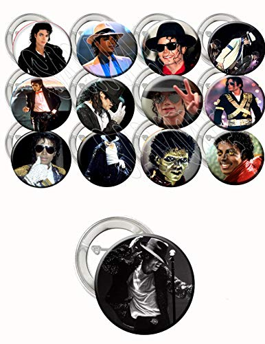 "Michael Jackson Party Favors Supplies Decorations Collectible Metal Pinback Buttons, Large 2.25"" -12 piece set, cool to wear on backpacks and jackets"