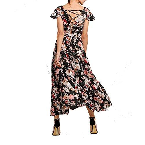 Kleid Transer® Damen V Neck Ärmellos Sexy Knöchel-Länge Urlaub Elegant Kleid Ein Hochseitenschlitz Polyester Print Blume Schwarz Partykleider Gr.S-XL