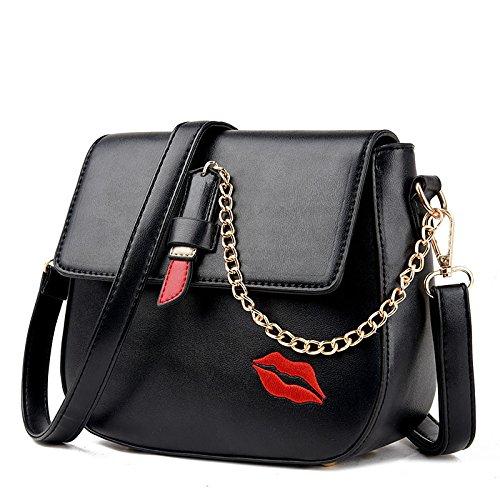 Womens Black Lèvres Sac à Fashion Chaîne Bandoulière BAILIANG Main à Sac à PU Bandoulière Rouge HwTxc6d