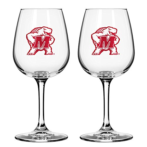 NCAA Maryland Terrapins Game Day Wine Glass, 12-ounce, 2-Pack -