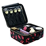 Travel Makeup Case MLMSY Makeup Cosmetic Case Cosmetics Organizer Makeup Bag ,DIY Adjustable & Removable Divider Makeup Train Case for Cosmetics Accessories, Tools Organizer Portable Suit(S, Red Lips)