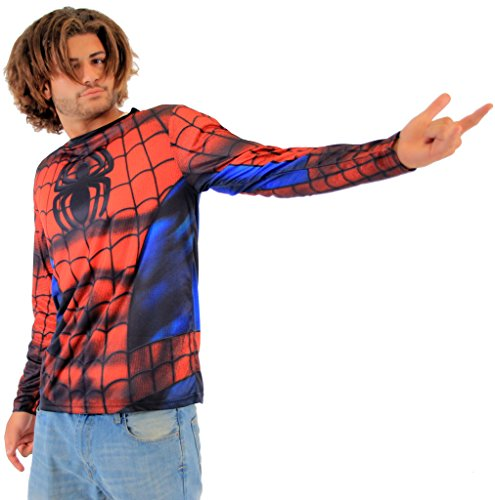 Marvel Spider-Man Sublimated Long Sleeve Costume T-Shirt (Adult Large) -
