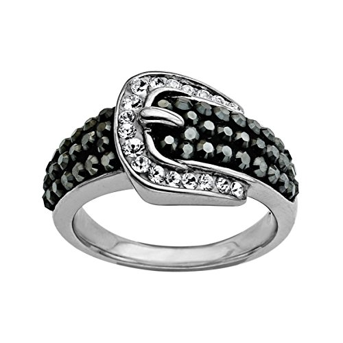 Crystaluxe Buckle Ring with Swarovski Crystals in Sterling -