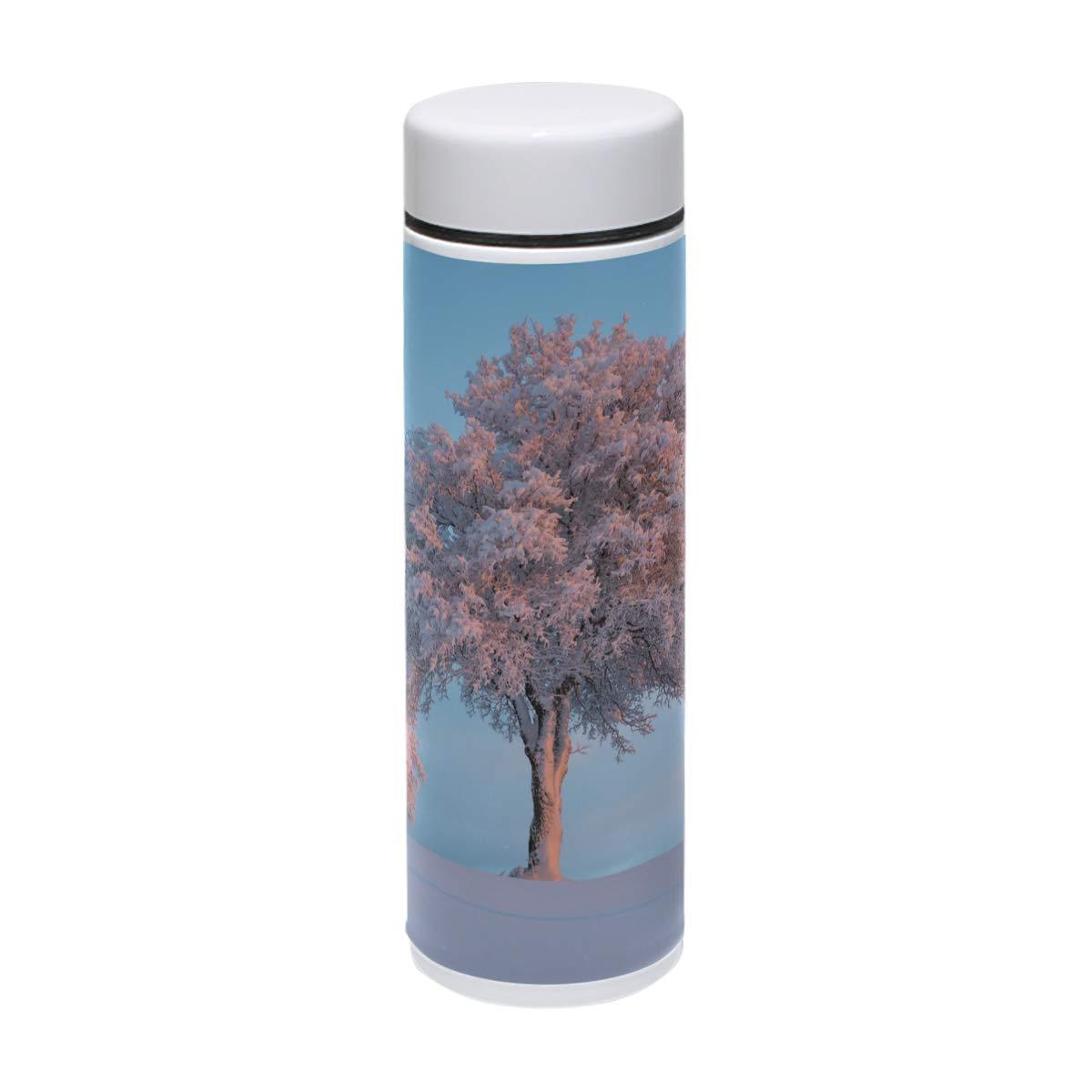 MUOOUM - Taza de viaje de acero inoxidable con aislamiento al al aislamiento vacío, diseño de árbol de nieve, color rosa, para 12 horas 5dffa0