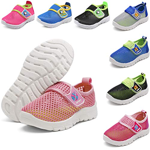 (DADAWEN Baby's Boy's Girl's Water Shoes Lightweight Breathable Mesh Running Sneakers Sandals Pink US Size 10 M Toddler)