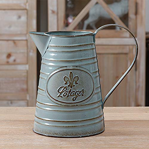 - S.H. Shabby Chic Rustic Style Metal Jug Pitcher Flower Vase Can