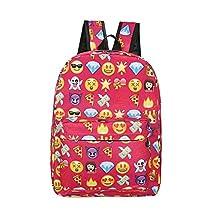 Backpack for girls boys cute school Backpack school bag emoji Backpack outdoor Daypack (Red)