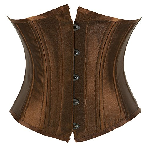 Kranchungel Women's 26 Steel Boned Heavy Duty Waist Trainer Underbust Corset Satin Shaper Corsetto Bustino Marrón
