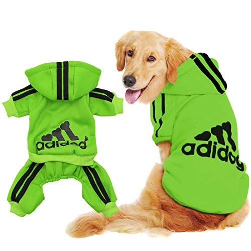 Scheppend Original Adidog Big Dog Large Clothes Sport Hoodies Sweatshirt Pet Winter Coat Retriever Outfits, Green XXXX-Large -