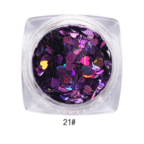 OMfeng 7g Mixed Heart Thin Nail Art Glitter Paillette Nail TipGel Polish Decoration (U) - Glitter Nail Polish Essie