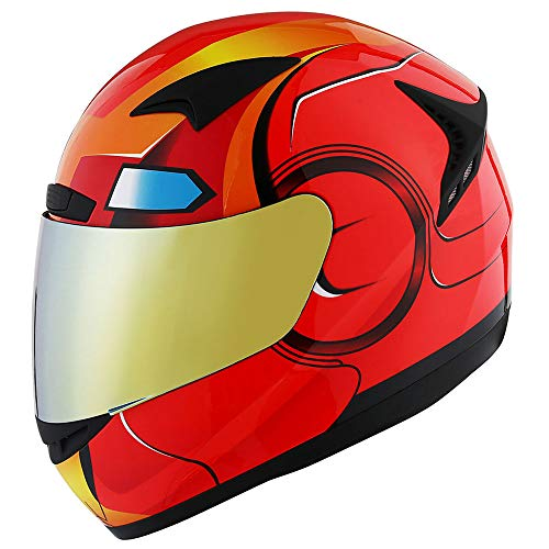 1STORM MOTORCYCLE BIKE FULL FACE HELMET BOOSTER IRON MAN RED (Removable Iron Man Helmet With)