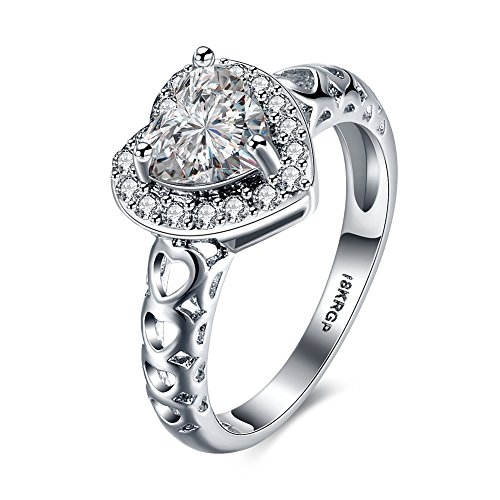 DreamSter 18K White Gold Plated Heart Cubic Zirconia Diamond Rings for Women Wedding Promise Engagement Band, by - Shaped Heart Wedding Rings
