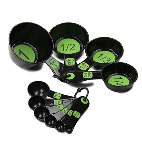Measuring Cups and Spoons - 10 Piece Nesting and Stackable Set - Lightweight Plastic Kitchen Tools on Rings - Green - by Bovado USA (Light Weight Dishes)