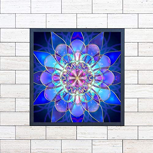 UPINS 2 Pack 5D DIY Diamond Painting by Number Kits,for Kaleidoscope Mandala (17.7X12inch) Geometric Blue Flower(12X12inch)
