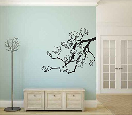 Magnolia Tree Branch Silhouette Vinyl Wall Words Decal Sticker Graphic - Magnolia Silhouette