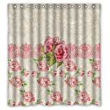 "Eco-friendly Vintage Pink Rose Floral Pattern Damask Art Shower Curtain Waterproof Bathroom Curtain Liner with Hook 66"" x 72"""
