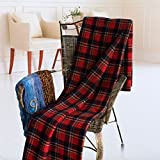 [Scotch Plaids - Festive Red] Soft Coral Fleece Throw Blanket (71 by 79 inches)