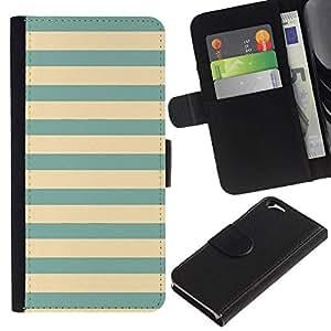 All Phone Most Case / Oferta Especial Cáscara Funda de cuero Monedero Cubierta de proteccion Caso / Wallet Case for Apple Iphone 6 // verde azulado amarillo verde líneas viñeta azul