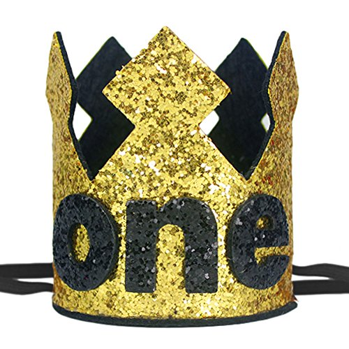 Maticr Sparkly Baby Boy First Birthday Crown Wild One Prince King Party Crown Hat Cake Smash Photo Prop (Gold Black One) by Maticr