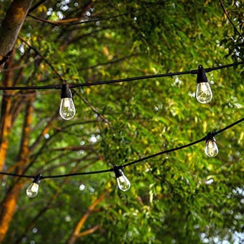 Brightech Ambience Pro Solar Powered LED Outdoor String Lights - Commercial Grade Waterproof, Hanging Patio Edison Bulbs, 1W S14 - Outside Weatherproof Cafe/Gazebo Lighting–2000mah Solar Panel