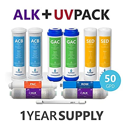 Express Water Reverse Osmosis Replacement Filter Cartridges Set of 11 Filters Alkaline pH+, UV Ultraviolet, Sediment Carbon GAC 5 Micron, 50 GPD Membrane, 1 Year Replacement Kit