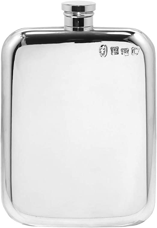 Engraved Free New In Box 4 oz English Pewter Flask With High Polished Finish