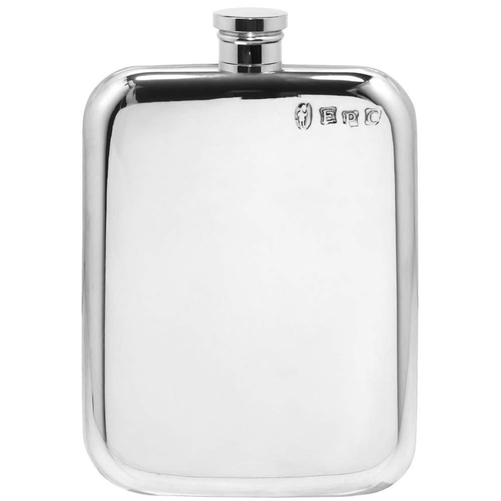 English Pewter Company 6oz Traditional Plain Pewter Liquor Hip Flask [SF435] by English Pewter Company Sheffield, England (Image #1)