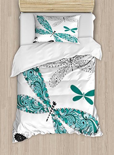 Ambesonne Dragonfly Duvet Cover Set Twin Size, Ornamental Dragonfly Figures with Lace and Damask Effects Artsy Image, Decorative 2 Piece Bedding Set with 1 Pillow Sham, Teal Turquoise Black