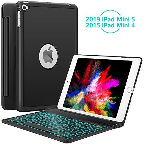 iPad Mini 5 / Mini 4 Keyboard - 135 Degree Flip 7 Color Backlit Aluminum Shell Smart Folio Keyboard Case with Auto Sleep/Wake for iPad Mini 5th Gen 2019 / iPad Mini 4 2015, Black (Cover 4 Keyboard Ipad)
