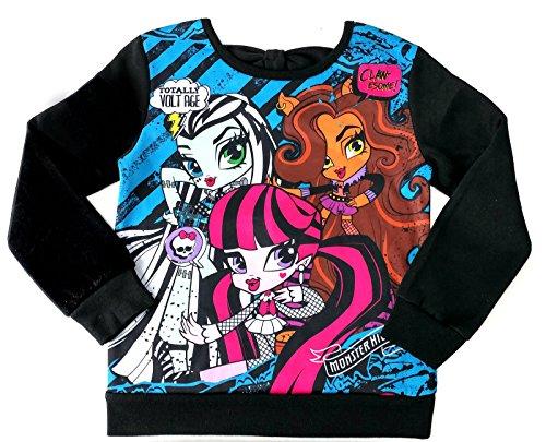 Monster High Ghouls Long Sleeve Girls Sweatshirt Top (4, Black) (Clothing For Girls Monster High)