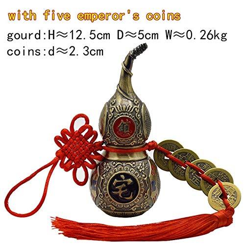 ZAMTAC Chinese Feng Shui Retro Color Wu Lou Hu Lu Miniaturas Copper Alloy Gourd Amulet Brass Copper Home Decoration Accessories Vintage - (Color: Retrocolorgourd Cion)