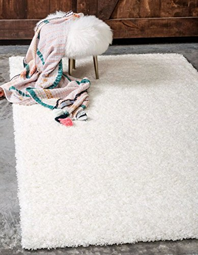 Unique Loom Solid Shag Collection Snow White 8 x 10 Area Rug (8' x 10') by Unique Loom