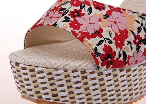 Pour À 6 Chaussures Boucle Avec Toe Talons Peep Sandales Élégantes 1 Haute D'été Élégante Rouge Uomogo Femmes Talon wEgFwqx