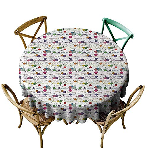 Zmlove Colorful Camping Picnic Round Tablecloth Knitting Balls Crochet Hand Crafts Stitch Yarn Hobby Theme Artsy Illustration Table Decoration Multicolor (Round - 59