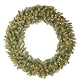 National Tree 48 Inch ''Feel Real'' Downswept Douglas Fir Wreath with 200 Warm White LED Lights (PEDD8-312L-48W)