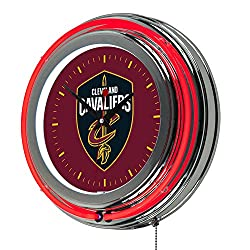 NBA Cleveland Cavaliers Chrome Double Ring Neon Clock, 14